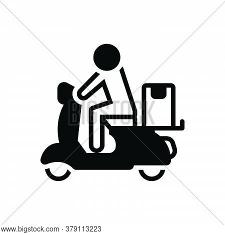 Black Solid Icon For Delivery  Fast Service Transportation Parcel Shipment Shipping Scooter Home-del