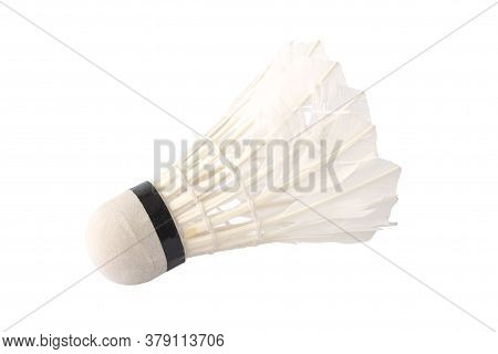 White Feather Shuttlecock Is Used For Playing Badminton Isolated On White Background.