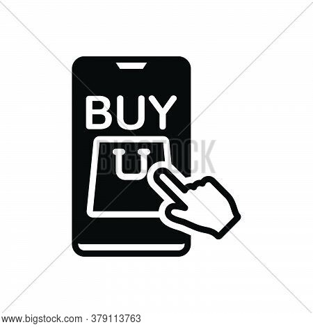 Black Solid Icon For Buy Shopping Click Online Market Commerce Payment Ecommerce Hand