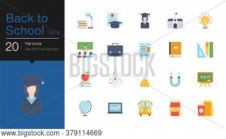 Back To School Icons Set 1. Flat Design. For Presentation, Graphic Design, Mobile Application Or Ui.