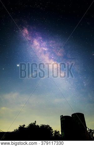 Milky Way On The Sky With Water Tank