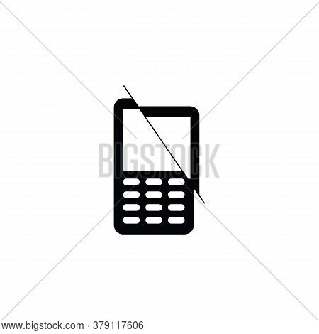 Cell Phone Icon. Flat, Mobile Icon On White Background