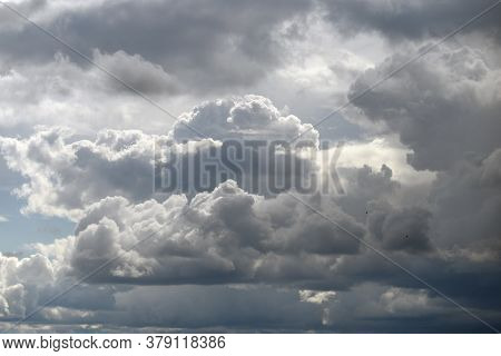 Beautiful Sky With Clouds Before Rain And Thunderstorm.