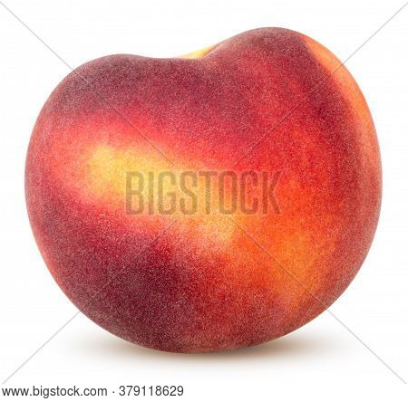 Isolated Peach. One Whole Peach Isolated On White Background With Clipping Path