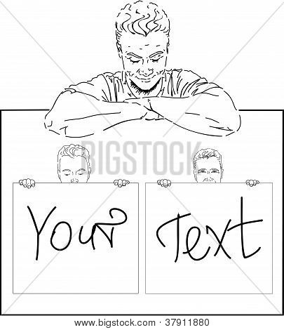 Young man with your text