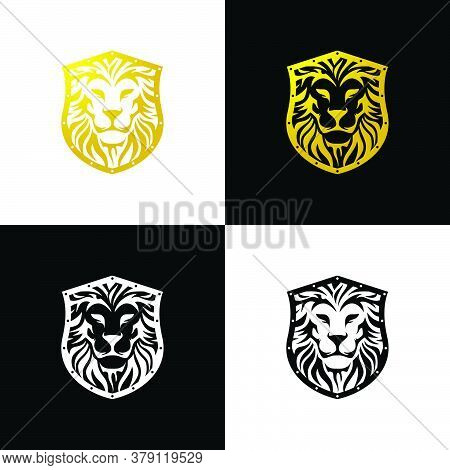 Lion Shield Logo. The Shape Of A Lion's Face Combined With The Shape Of A Shield. Luxurious, Classic