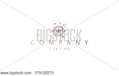 Vector Color Logo On Which An Abstract Image Of The Space Landscape In The Form Of Plpnets, Stars An