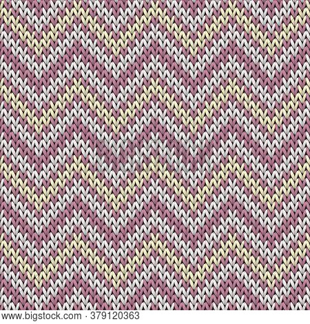 Macro Chevron Stripes Knitting Texture Geometric Vector Seamless. Jumper Knitting Pattern Imitation.