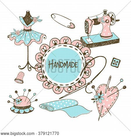 Cute Frame With Ruffles In Doodle Style With A Sewing Machine And Tailor Mannequins . Vector