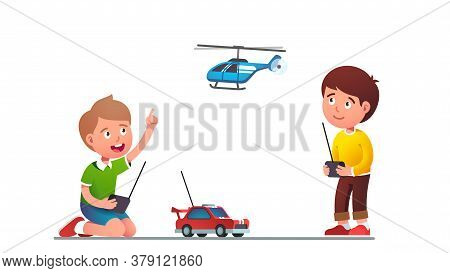Boys Kids Playing With Radio-controlled Toy Car