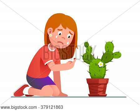 Girl Crying Over Cactus Thorn Sting Pricked Finger