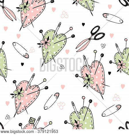 Seamless Polka Dot Pattern On The Theme Of Needlework With Cute Sewn Hearts Pillows For Needles. Vec