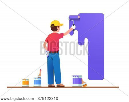 Painter Man Painting House Wall With Roller Brush