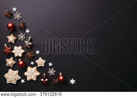 Christmas Background, Celebration, New Years Eve Party Concept. Beautiful Embellishments, Homemade G