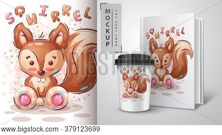 Cute Squirrel Poster And Merchandising. Vector Eps 10
