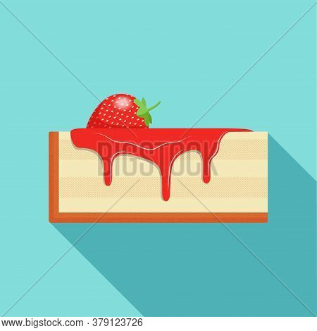 Delicious Piece Of Cheesecake Decorated With Fresh Strawberries And Fruit Syrup. The Syrup Drips Fro