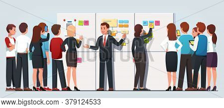 Business Man Explaining Company Strategy To Staff