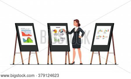 Analyst Woman Doing Business Black Board Diagram