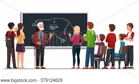 Teacher Explaining Lecture Topic To Students Group