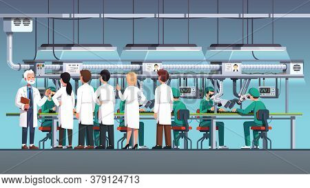 Scientific Engineers Wearing Lab Coats At Factory