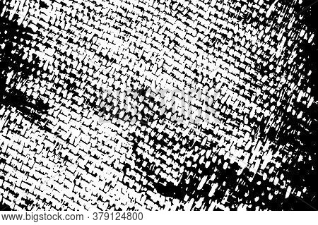Rustic Woven Fabric Black Vector Texture On Transparent Background. Woven Monochrome Ornament. Natur