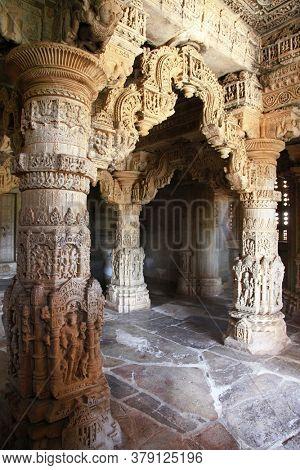 amazing stone carvings in Indian Temple Sahastra Bahu (Sas-Bahu)  at Nagda, Udaipur, Rajasthan, India.