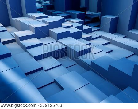 3D render of a background of extruding isometric blocks