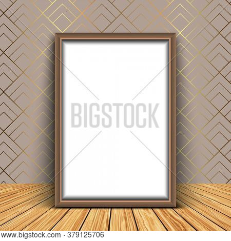 3D render of a blank picture frame against an elegant wallpaper background