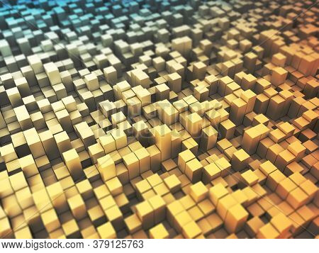 3D render of an abstract background with extruding blocks