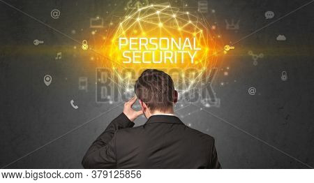 Rear view of a businessman with PERSONAL SECURITY inscription, online security concept