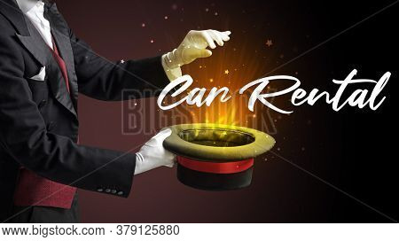 Magician is showing magic trick with Car Rental inscription, traveling concept