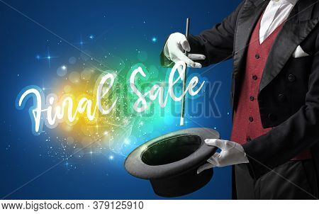 Magician hand conjure with wand and Final Sale inscription, shopping concept