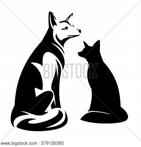 Beautiful Sitting Fox Black And White Vector Outine And Silhouette Design Set