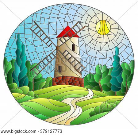 The Image In The Stained Glass Style Landscape With A  Windmill On A Background Of Sky And Sun, Oval