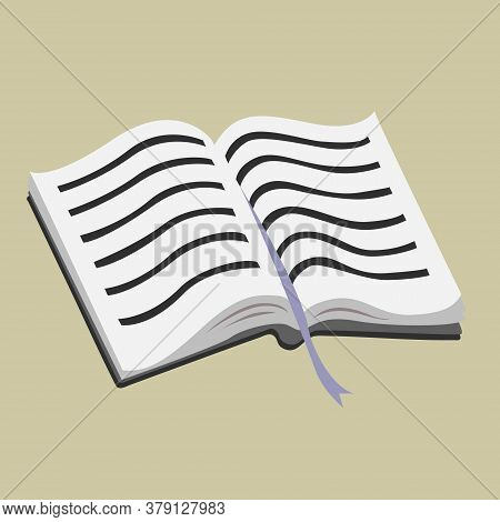 Opened Handbook With A Bookmark. Soft Paper Pages With Text. Vector Isolated Illustration.