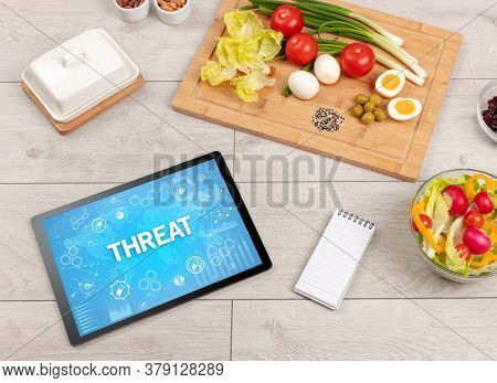 Healthy Tablet Pc compostion with THREAT inscription, immune system boost concept