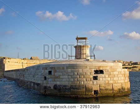 View Of Lighthouse In Grand Harbour, Valletta, Malta