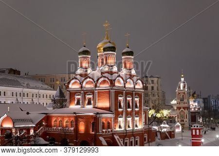 Moscow, Russia - Jan. 2. 2019. Night Cityscape With The Cathedral Of Icon Of Mother Of God On Varvar