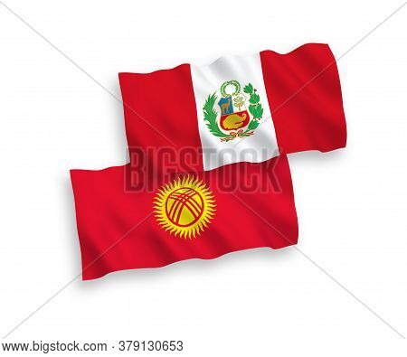 National Fabric Wave Flags Of Peru And Kyrgyzstan Isolated On White Background. 1 To 2 Proportion. 3