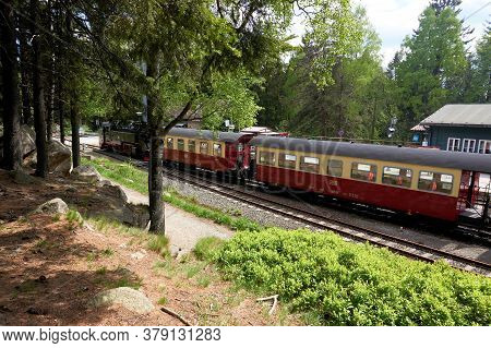 Schierke, Germany - May 21, 2020: Brocken Railway Brockenbahn In The Station Of Schierke In The Harz