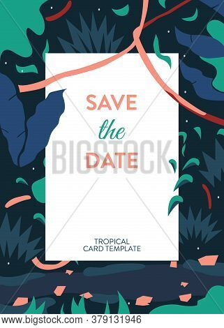 Invitation Card Tropical Vector. Invitation Card Save The Date On A Green Tropical Background With T