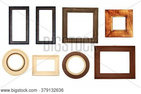 Set of retro wooden photo frames. Collection of vintage wood picture frame of different form (round, square, rectangular). Isolated on white background. Copy space for text