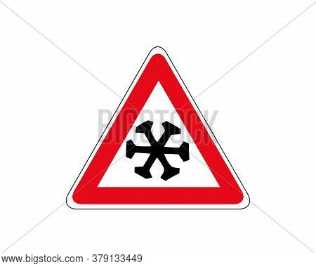 Snow Ahead Warning Sign. Vector Illustration Of Triangle Road Sign For Cold.
