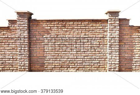 Fence of bricks. Wall with brick imitation decorative tiles. Copy space for text. Isolated on white background
