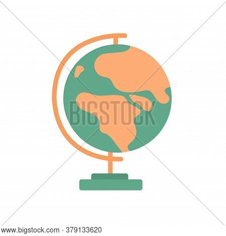 Globe On A Stand. Model For Geography Lessons At School. Vector Isolated Illustration In Flat Style