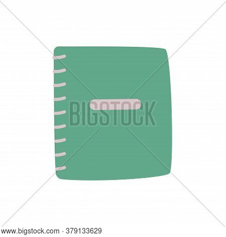 Notebook On Rings For School. Spiral Notebook Icon In Flat Style. Vector Isolated Illustration.