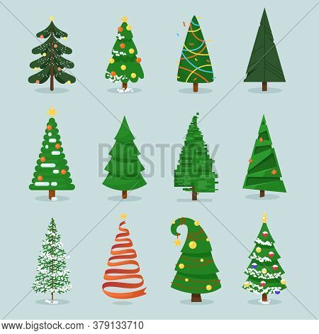 Christmas Tree Set. Isolated Stylized Decorated Cartoon Fir-tree With Stars And Balls Icon Collectio