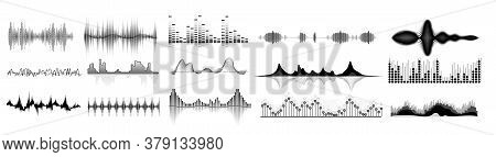 Sound Waves Icon Set. Isolated Audio Sound Wave Icons. Black Abstract Pulse Frequency Waveform Desig