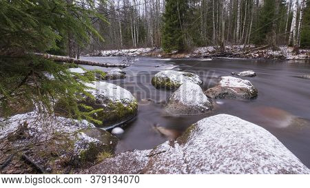 The Roshchinka River In The Lindulovskaya Ship Larch Grove In Winter. Natural Park, Forest And Reser
