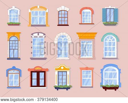 Home Window. Various Closed Glass Window Frame Silhouette For Home Or House Apartment. Real Estate W